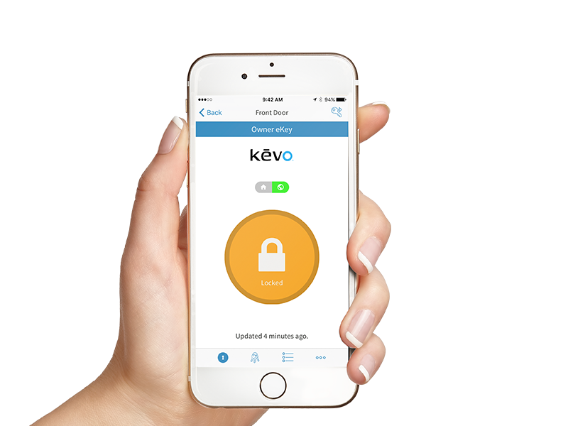 Hand holding phone with Kevo app showing active eKeys
