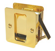 Square Passage Pocket Door Lock - Bright Brass