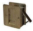 Square Passage Pocket Door Lock - Antique Brass
