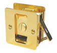 Square Privacy Pocket Door Lock - Bright Brass