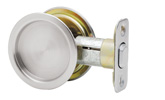 Round Passage Pocket Door Lock - Satin Chrome
