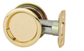 Round Passage Pocket Door Lock - Bright Brass