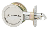 Round Privacy Pocket Door Lock - Bright Chrome
