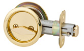 Round Privacy Pocket Door Lock - Bright Brass