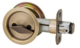 Round Privacy Pocket Door Lock - Antique Brass