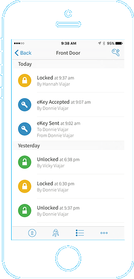 Phone screenshot showing example of history of who has used your Kevo lock