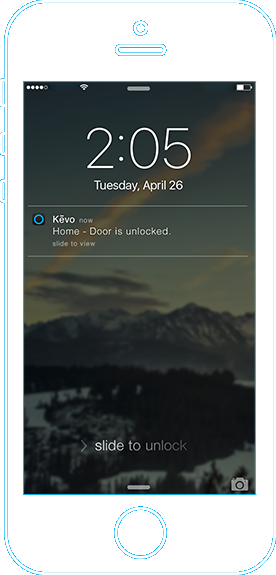 Phone screenshot showing example of Kevo notifications